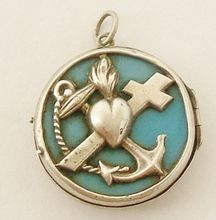 French art nouveau 800-900 Continental Silver Faith Hope & Charity locket
