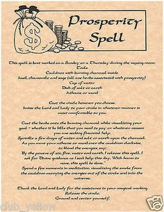 PROSPERITY SPELL Real Witchcraft Spell Book of Shadows Page BOS Pages Poster
