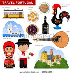 Travel to Portugal. Set of traditional cultural symbols cuisine architecture. A collection of colorful illustrations for the guidebook. Portugueses in national dress. Deco Cafe, Day Trips From Lisbon, Portuguese Culture, World Thinking Day, Art For Kids, Crafts For Kids, Travel Words, Portugal Travel, Anastasia