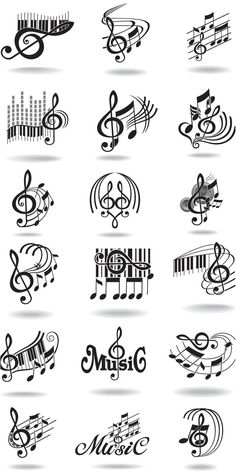 Notes, music staff and treble clef vector...@Shelley Parker Herke Parker Herke Parker Herke Backus I thought of you and your tattoo board when I saw this