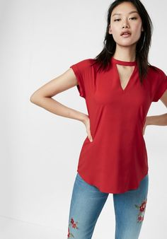 0cbd4e8de6a Choker Neck Rolled Sleeve Blouse in red  39.90 Express Fashion