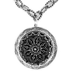 @Overstock - Antique style gorgeous long locket necklace on link chain. This beautiful silver color necklace contains a round etched design locket with mirror and detailed interior.http://www.overstock.com/Jewelry-Watches/Antiqued-Large-Oxidized-Silver-Locket-with-Mirror-Pendant-Necklace/6337437/product.html?CID=214117 $18.49