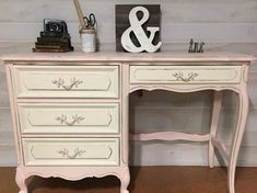 Vintage French Provincial Desk painted and distressed in a Light Coral And Cream Chalk Paint. Sealed with clear wax. **This item is not Art Deco Furniture, Colorful Furniture, Furniture Projects, Furniture Makeover, Painted Furniture, Home Furniture, Furniture Design, Chair Design, Design Design