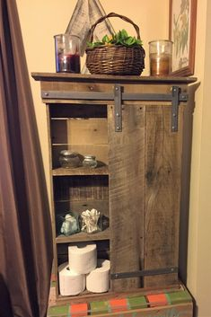 Bathroom Shelf with Sliding Door #Primitivebathrooms