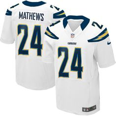 Men's Nike San Diego Chargers #24 Ryan Mathews Elite White Jersey $129.99