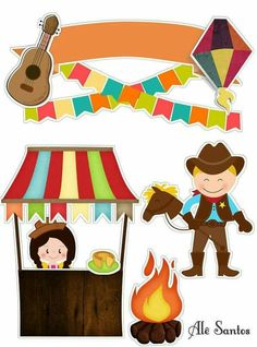 Festa junina Toys From Trash, Diy And Crafts, Paper Crafts, Hobbies For Kids, Agenda Planner, Cute Frames, Bunting Flags, Ink Stamps, Le Far West