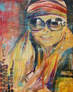 Painting Art Bohemian Decor Sunglasses Boho Girl by AlishaVernon, $125.00