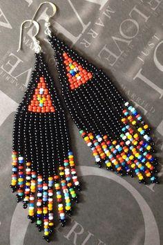 Long Beaded Black and Multicolored Fringe Dangle Earrings Beadwork Handmade Bohemian Tribal Jewelry