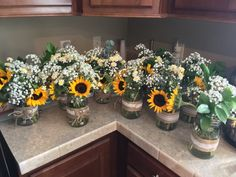 Our rustic sunflower centerpieces - Decoration For Home Sunflower Birthday Parties, Sunflower Party, Sunflower Baby Showers, Graduation Party Decor, Grad Parties, Graduation Table Decorations, Rustic Sunflower Centerpieces, Rustic Sunflower Weddings, Sunflower Wedding Decorations
