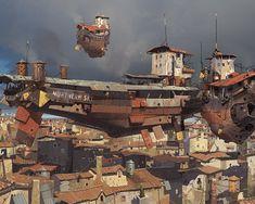 illustration concept ship by Ian McQue Concept Ships, Concept Art, Steampunk Wallpaper, Image Digital, Digital Art Gallery, Fantasy Landscape, Sci Fi Fantasy, Dieselpunk, Steampunk Airship