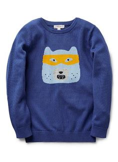 100% cotton crew neck sweater with front intarsia bear with mask
