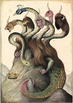 """Italian artist El Gato Chimney will present a series of mystical watercolors in his upcoming solo show at Stephen Romano Gallery in Brooklyn, """"De Rerum Natura"""" (which translates to """"The Nature of. Art And Illustration, Animal Illustrations, Dragons, Alchemy Art, Pop Surrealism, Italian Artist, Fantastic Art, Art Blog, Illustrators"""