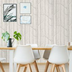 Papier peint Woods - Cole and Son Cole And Son Wallpaper, Wood Wallpaper, Christian Lacroix, Sons, Dining Chairs, Design, Furniture, Dupont, Exotic