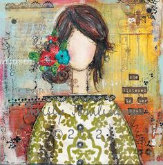 She listened to her Soul Mixed Media Print 05 by ChristyTomlinson...