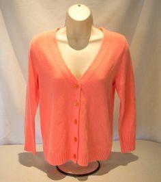 100% CASHMERE Women's Size Small J CREW V Neck Cardigan  #21842 Lt Orange Coral  #JCrew #Cardigan