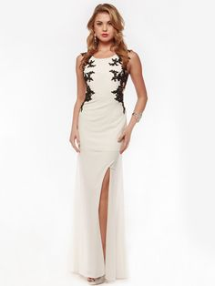 Sleeveless Embroidery Evening Dress with Back Panel | Sung Boutique L.A.