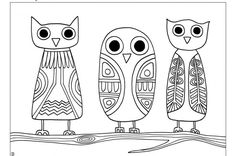 Made by Joel » owl coloring sheet - print, color, cut out, paste onto kraft paper cards!