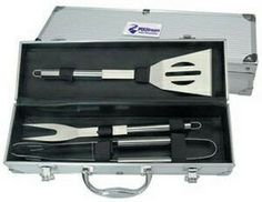 BBQ utensil Tool Set - 3 pcs of stainless steel bbq tools in a aluminum case.