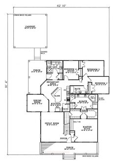 First Floor Plan of Country   House Plan 82087, this is my dream home!!!!