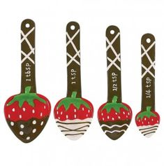 Chocolate Dip Strawberry Measuring Spoon 4Pc Set