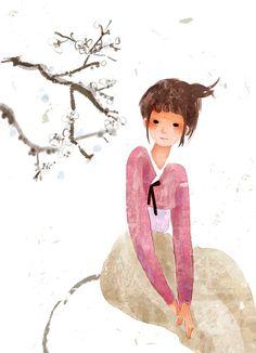 Hanbok Illustration | Korea (tjsiu) - Find sweet Korean illustrations like this for girls' bedrooms