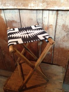 Vintage Oak Camping Stool Pendleton Wool Native by IndianvsIndian, $65.00