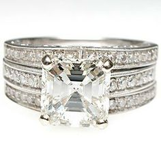 Square Emerald Cut Diamond Engagement Bridal Ring Set Solid 18K White Gold. Perfect in every way!