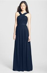 navy...ML Monique Lhuillier Bridesmaids Crisscross Chiffon Gown (Nordstrom Exclusive)