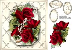 Beautiful Red Roses On A Gold Lattace Mat 5