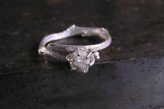 Roh-Diamant-Verlobungsring ungeschliffener Diamant Ring in