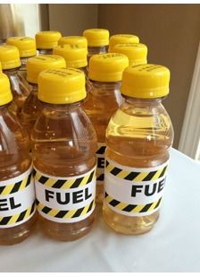 Fuel up at your Hot Wheels themed party with these covered apple juice drinks!