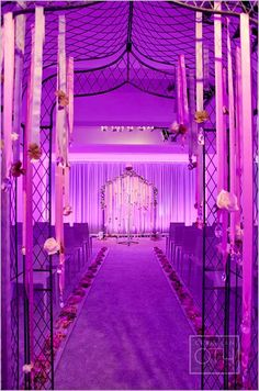Levy Lighting gives Angela and Lubin's wedding aisle a romantic lighting treatment. Wedding Events, Our Wedding, Dream Wedding, Indoor Wedding, Wedding Reception, Weddings, Uplighting Wedding, Wedding Lighting, Event Lighting