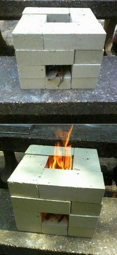 We could make this for your backyard! A nice little fire pit.How to Make a 16 Brick Rocket Stove… Awesome for the backyard! Camping Survival, Survival Prepping, Survival Skills, Survival Gear, Emergency Preparation, Survival Shelter, Homestead Survival, Emergency Preparedness, Survival Videos