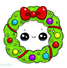 How to Draw a Christmas Holiday Wreath Easy Cute Food Drawings, Cute Kawaii Drawings, Cartoon Drawings, Easy Drawings, Chibi Kawaii, Kawaii Doodles, Kawaii Art, Cute Images, Cute Pictures