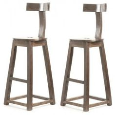 Rustic Industrial Wood T-Back Bar Stool -Set of 2