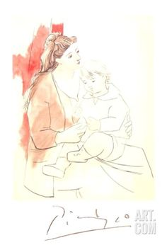Maternite au Rideau Rouge Collectable Print by Pablo Picasso at Art.com