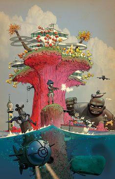 Art Gorillaz, Gorillaz Wiki, Gorillaz Plastic Beach, Illustrations, Illustration Art, Jamie Hewlett Art, Art Tumblr, Tank Girl, Beach Art