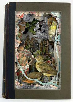 Alexander Korzer-Robinson  Jungle  Cut book with glass  10 1/2 x 7 x 2 1/2 inches  2012 via Robert Fontaine Gallery