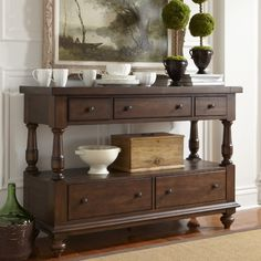 $728 w/free shipping Barrow Console Table #birchlane Solid Alder construction, ball bearing drawer extensions, Rich Ginger finish, 56W x 19D x 38H Perfect for behind loveseat.