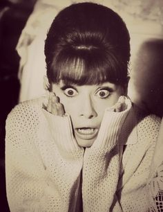 My expression when realizing I have WAY more   work than I thought... #audreyhepburn #hepburn #shock