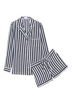 Lilian striped washed-silk pajama set