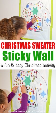 Christmas Sweater Sticky Wall - HAPPY TODDLER PLAYTIME Christmas sweater sticky wall is an amazing activity for toddlers, preschoolers and kindergartners. Keep them happy and engaged and work on fine motor skills!