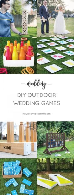If you& having an outdoor wedding, lawn games are a fun way to make sure y. If you& having an outdoor wedding, lawn games are a fun way to make sure your guests are totally entertained! Great for cocktail hours and receptions. Wedding Reception Games For Guests, Outdoor Wedding Games, Lawn Games Wedding, Wedding Games For Guests, Diy Outdoor Weddings, Outdoor Wedding Decorations, Outdoor Games, Wedding Backyard, Wedding Ideas