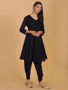 Black Mirror Work Mulmul Kurta with Modal Dhoti Pants- Set of 2 Buy Suits, Kurta Palazzo, Indian Fashion, Womens Fashion, Classic Suit, Suit Shop, Dress Indian Style, Cotton Suit, Indian Ethnic Wear
