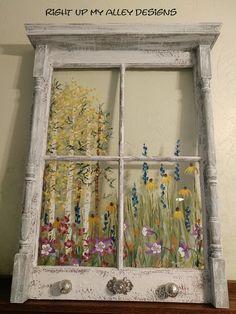 Old windows painted, vintage windows, window pane art, painted window panes Window Pane Art, Old Window Frames, Window Ideas, Painted Window Panes, Old Window Art, Old Window Decor, Old Window Shutters, Window Paint, Window Mirror
