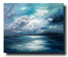 """""""Sea Night"""" acrylic on canvas by Antje Hettner - ideal for things - art . - """"Sea Night"""" acrylic on canvas by Antje Hettner – ideal for things – art - Abstract Canvas Art, Acrylic Painting Canvas, Simple Paintings On Canvas, Abstract Ocean Painting, Painting Clouds, Painted Canvas, Blue Canvas, Canvas Canvas, Seascape Paintings"""