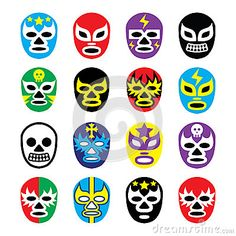 Lucha libre mexican wrestling masks icons by Agnieszka Murphy, via Dreamstime