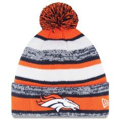 Warm up with this Mens Denver Broncos New Era Orange On-Field Sport Sideline Cuffed Knit Hat
