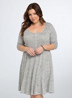 Plus Size Knit Henley Skater Dress, HEATHER GREY