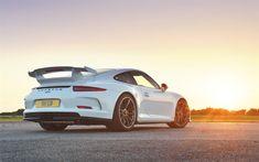 Download wallpapers Porsche 911 GT3, supercars, sunset, 2017 cars, sportscars, Porsche